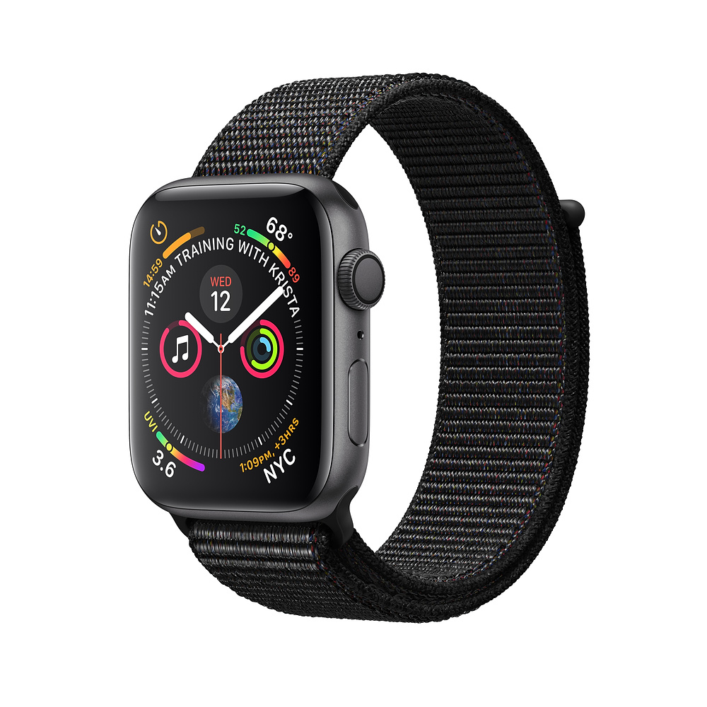 Apple Watch Series 4 44mm (GPS) Space Gray Aluminum Case with Black Sport Loop (MU6E2RU/A)