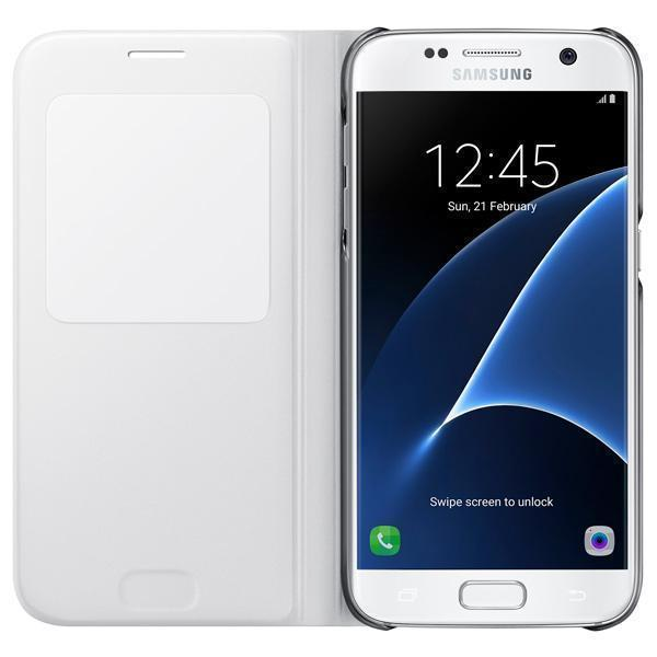 Чехол-книжка Samsung S-View Cover для Galaxy S7 полиуретан, поликарбонат белый EF-CG930PWEGRUдля Samsung<br>Чехол-книжка Samsung S-View Cover для Galaxy S7 полиуретан, поликарбонат белый EF-CG930PWEGRU<br>