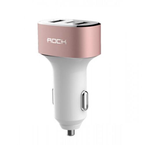 Автомобильное зарядное устройство Rock Type-C Car Charger 3 USB 5A (RCC0106) Rose Gold