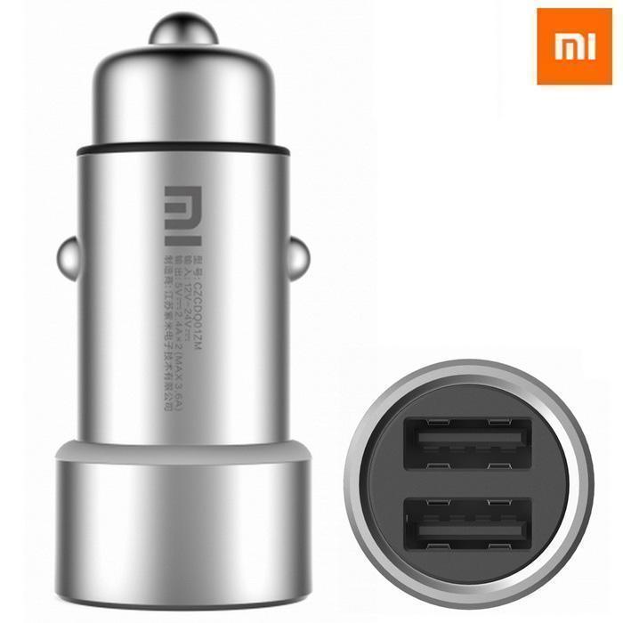 Автомобильный блок питания Xiaomi MI Сar Сharger 2xUSB 2.4A - 3.6A SilverАвтомобильные зарядные устройства<br>Автомобильный блок питания Xiaomi MI Сar Сharger 2xUSB 2.4A - 3.6A Silver<br>