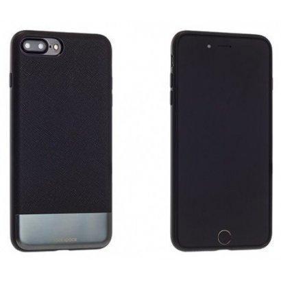 Чехол-накладка Rock Elite Series для Apple iPhone 7 Plus/8 Plus натуральная кожа-металл черныйдля iPhone 7 Plus/8 Plus<br>Чехол-накладка Rock Elite Series для Apple iPhone 7 Plus/8 Plus натуральная кожа-металл черный<br>