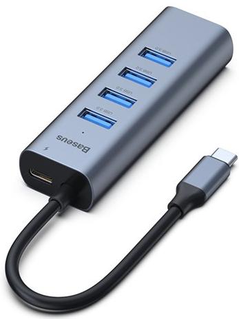 Адаптер Baseus Enjoy Series Type-C на USB 3.0x4 + PD HUB (Grey) (CAHUB-Q0G) фото