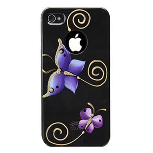 Чехол-накладка iCover Printing Butterfly Hard для Apple iPhone SE/5S/5 Black/Purple