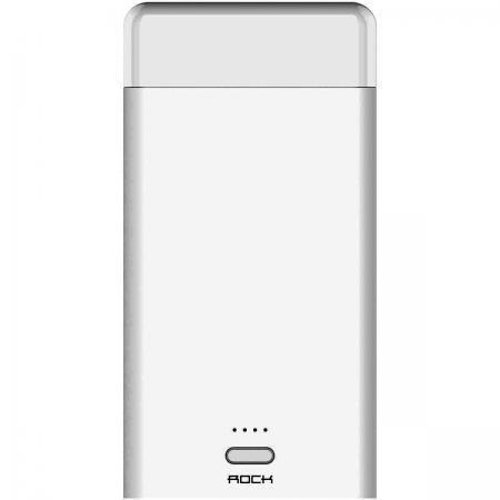 Универсальный внешний аккумулятор Rock Light Stone Power Bank 8000 mAh 2.4 А/1.2, USBx2 пласти white