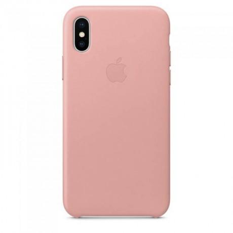 Чехол-накладка Leather Case для Apple iPhone X/XS кожаный (розовый) фото