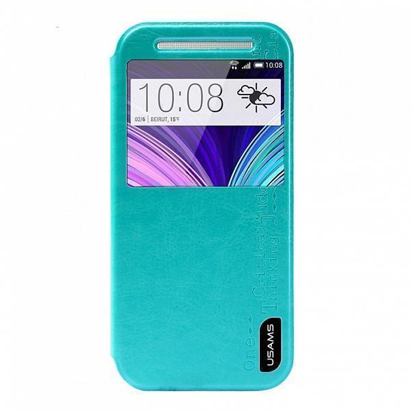 Чехол-книжка Usams Merry Series для HTC One M8 искусственная кожа бирюзовыйдля HTC<br>Чехол-книжка Usams Merry Series для HTC One M8 искусственная кожа бирюзовый<br>