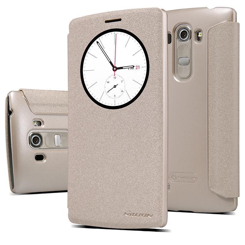 Чехол-книжка Nillkin Sparkle Series для LG G4 пластик-полиуретан (золотой)для LG<br>Чехол-книжка Nillkin Sparkle Series для LG G4 пластик-полиуретан (золотой)<br>