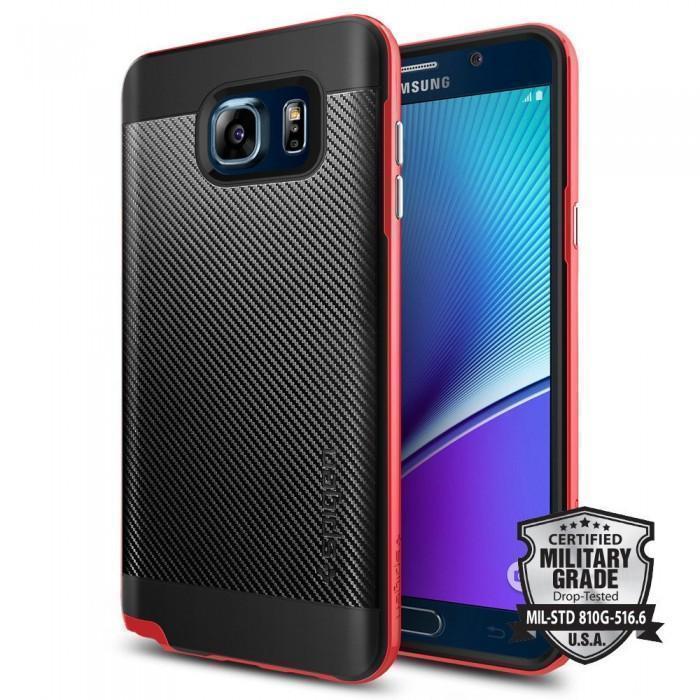 Чехол-накладка Spigen Neo Hybrid Carbon SGP11691 для Samsung Galax Note 5  резина, пластик красныйдля Samsung<br>Чехол-накладка Spigen Neo Hybrid Carbon SGP11691 для Samsung Galax Note 5  резина, пластик красный<br>