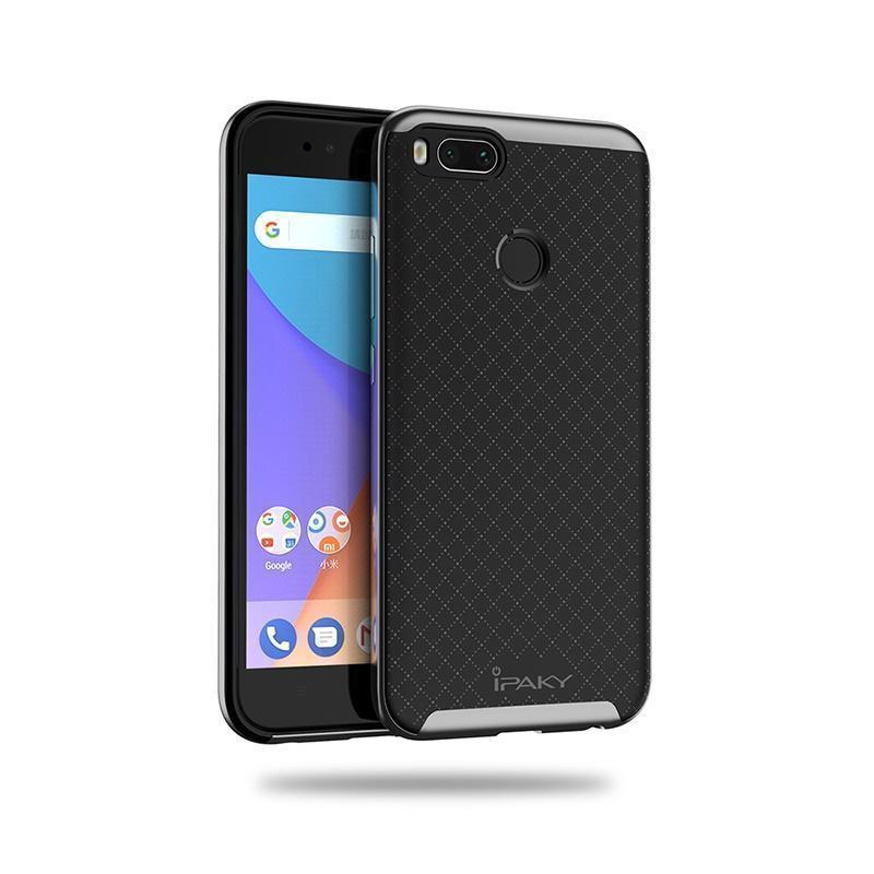 Купить Чехол-накладка iPaky для Xiaomi Mi5X/Mi A1 силиконовый со вставкой металлик (черный/серый)