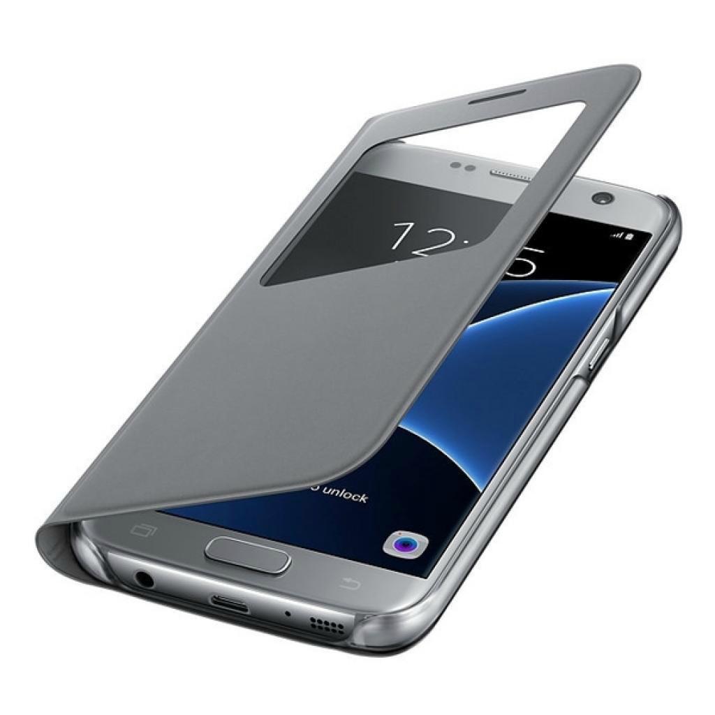 Чехол-книжка Samsung S-View Cover для Galaxy S7 полиуретан, поликарбонат серый (EF-CG930PSEGRU)для Samsung<br>Чехол-книжка Samsung S-View Cover для Galaxy S7 полиуретан, поликарбонат серый (EF-CG930PSEGRU)<br>