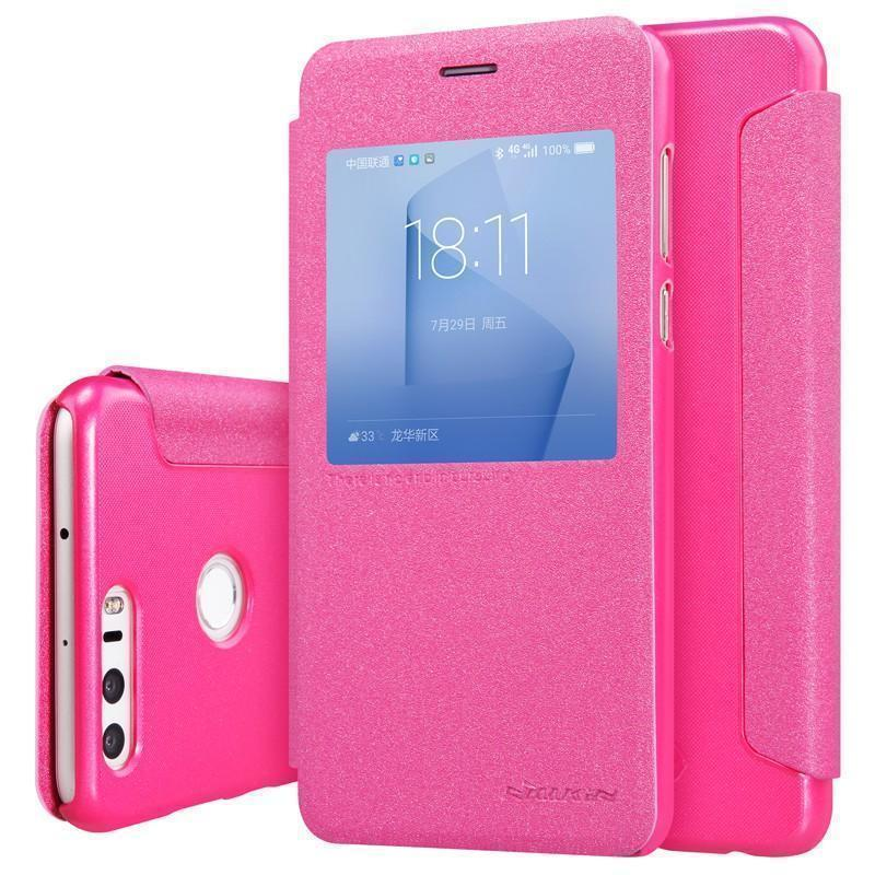 Чехол-книжка Nillkin Sparkle Series для Huawei Honor 8 пластик-полиуретан (розовый)