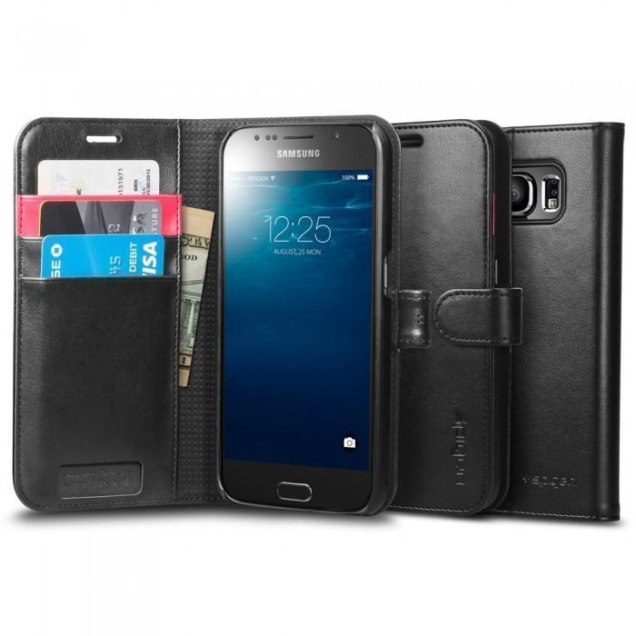 Чехол-книжка Spigen Wallet S SGP11340 для Samsung Galaxy S6 пластик, искусственная кожа Черныйдля Samsung<br>Чехол-книжка Spigen Wallet S SGP11340 для Samsung Galaxy S6 пластик, искусственная кожа Черный<br>