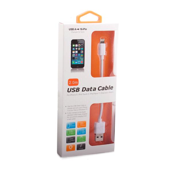Кабель Henca (USB) на (Ligthning) 100см белый(Apple lightning) кабели, переходники, адаптеры<br>Кабель Henca (USB) на (Ligthning) 100см белый<br>