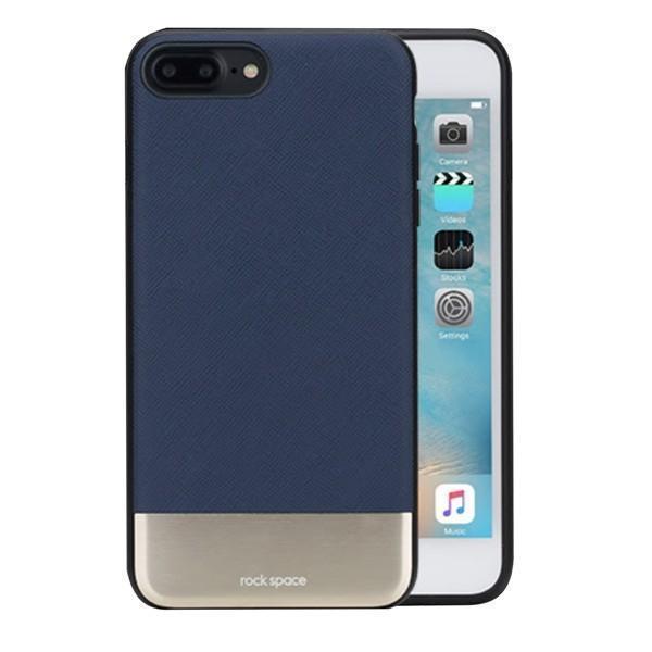 Чехол-накладка Rock Elite Series для Apple iPhone 7 Plus/8 Plus натуральная кожа-металл темно-синийдля iPhone 7 Plus/8 Plus<br>Чехол-накладка Rock Elite Series для Apple iPhone 7 Plus/8 Plus натуральная кожа-металл темно-синий<br>
