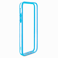 Чехол-бампер Puro Bumper Frame для Apple iPhone 5C пластик/силикон (прозрачный-голубой)