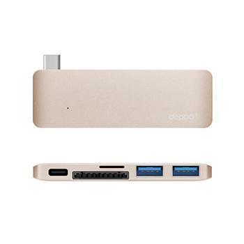 Адаптер Deppa USB-Type C для Macbook 5 в 1 золотой (72219)Кабели-адаптеры (Type-C)<br>Адаптер Deppa USB-Type C для Macbook 5 в 1 золотой (72219)<br>