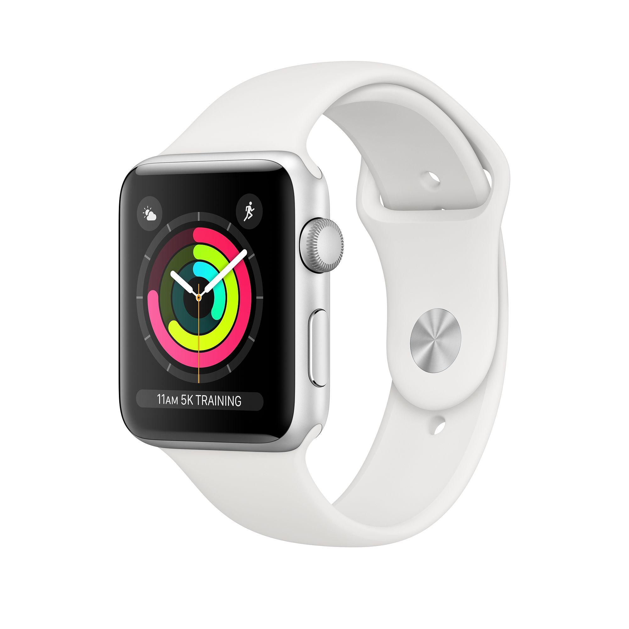 Apple Watch Series 3 38mm (GPS + Cellular) Silver Aluminum Case white Sport Band (MTGG2)