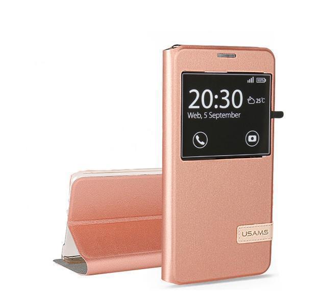 Чехол-книжка Usams S-View Case для Samsung Galaxy A5 (2016) искусственная кожа/силикон (Rose Gold) фото