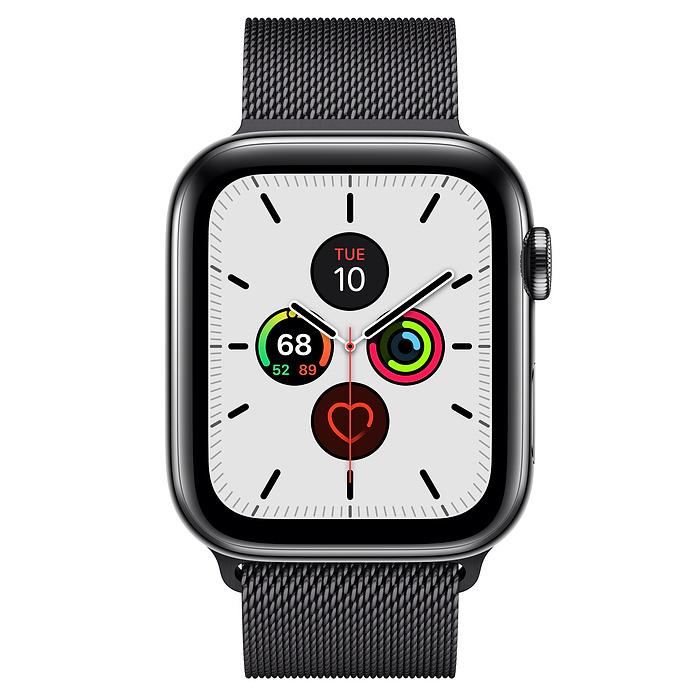 Картинка для Apple Watch Series 5 44mm (GPS + Cellular) Space Black Stainless Steel Case with Space Black Stainless Steel  Milanese Loop (MWW82/MWWL2)