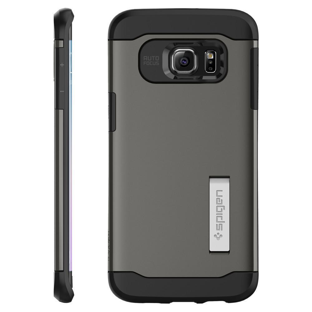 Чехол-накладка Spigen Slim Armor SGP11701 для Galaxy S6 Edge Plus резина, пластик (Темно-серый)для Samsung<br>Чехол-накладка Spigen Slim Armor SGP11701 для Galaxy S6 Edge Plus резина, пластик (Темно-серый)<br>