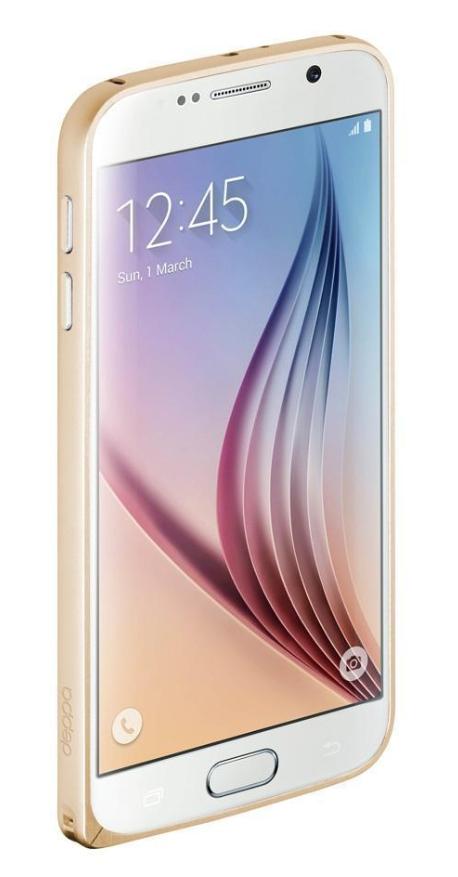 Купить Чехол-бампер Deppa Alum Bumper для Samsung Galaxy S6 пластиковый+защитная пленка (золотой)