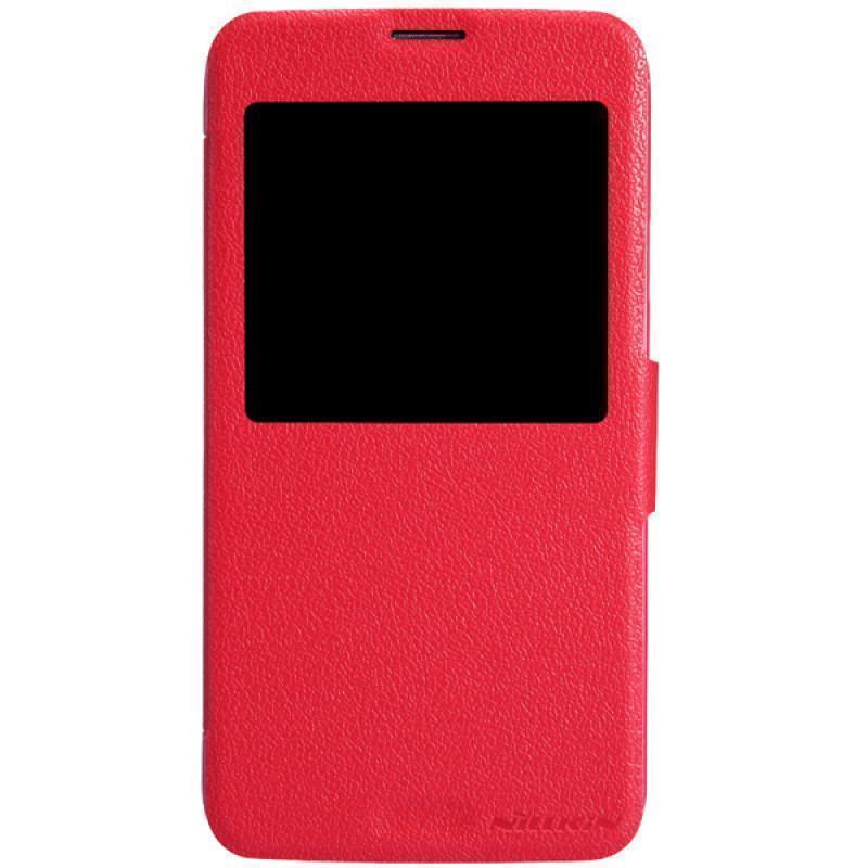 Чехол-книжка Nillkin Fresh Series для Samsung Galaxy Note 4 (SM-N900) натуральная кожа красный