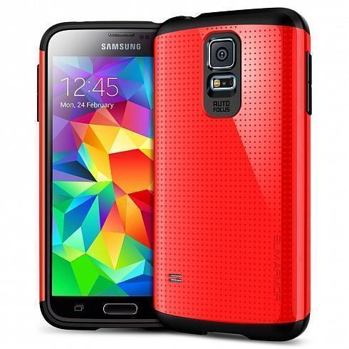 Чехол-накладка Spigen Slim Armor SGP10752 для Samsung Galaxy S5 резина, пластик (красный)для Samsung<br>Чехол-накладка Spigen Slim Armor SGP10752 для Samsung Galaxy S5 резина, пластик (красный)<br>