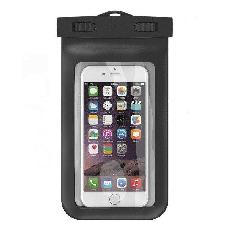 Водонепроницаемый чехол Waterproof Case для смартфона универсальный силикон, прозрачный, черныйУниверсальные, спортивные, водонепроницаемые<br>Водонепроницаемый чехол Waterproof Case для смартфона универсальный силикон, прозрачный, черный<br>