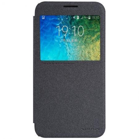 Чехол-книжка Nillkin Sparkle Series для Samsung Galaxy E5 SM-E500 пластик-полиуретан черныйдля Samsung<br>Чехол-книжка Nillkin Sparkle Series для Samsung Galaxy E5 SM-E500 пластик-полиуретан черный<br>