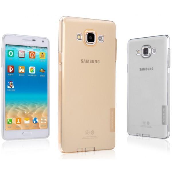 Чехол-накладка Nillkin Nature 0.6mm для Samsung Galaxy A7 (SM-A700) силиконовый прозрачно-золотой