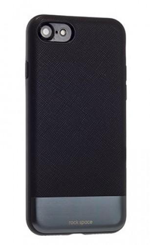 Чехол-накладка Rock Elite Series для Apple iPhone 7/8 натуральнач кожа-пластик-металл черный