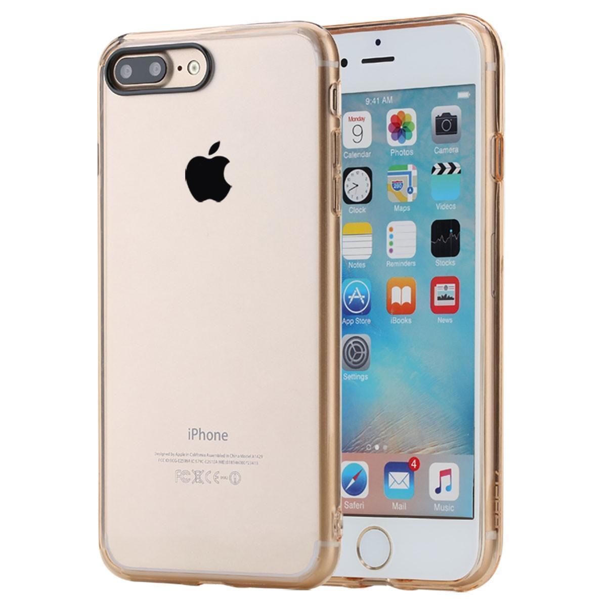 Чехол-накладка Rock Pure Series для Apple iPhone 7 Plus/8 Plus пластик-силикон прозрачно-золотойдля iPhone 7 Plus/8 Plus<br>Чехол-накладка Rock Pure Series для Apple iPhone 7 Plus/8 Plus пластик-силикон прозрачно-золотой<br>