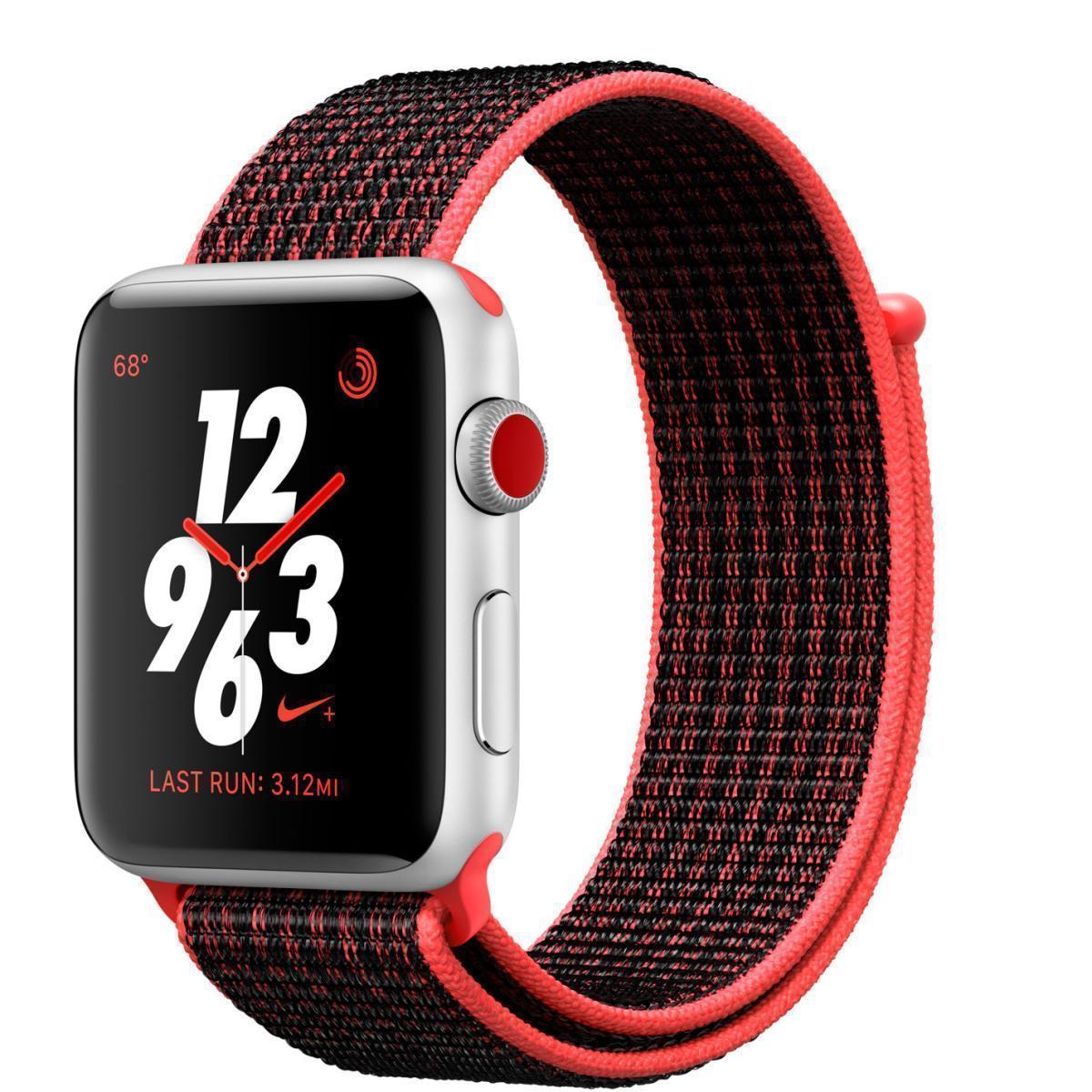 Apple Watch Nike+ Series 3 42mm (GPS) Silver with Bright Crimson/Black Nike Sport Loop MQLE2