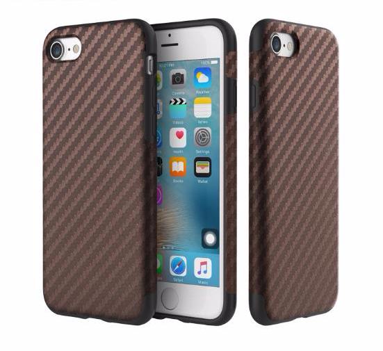 Чехол-накладка Rock Origin Series Textured для Apple iPhone 7/8 карбон/силикон Brownдля iPhone 7/8<br>Чехол-накладка Rock Origin Series Textured для Apple iPhone 7/8 резина карбон Brown<br>