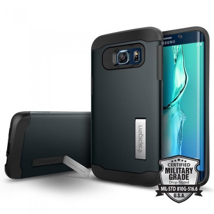 Чехол-накладка Spigen Slim Armor SGP11716 для Galaxy S6 Edge plus резина, пластик (Синевато-серый)для Samsung<br>Чехол-накладка Spigen Slim Armor SGP11716 для Galaxy S6 Edge plus резина, пластик (Синевато-серый)<br>
