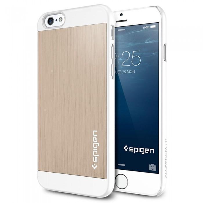 Чехол-накладка Spigen Aluminum Fit для Apple iPhone 6/6S пластик-алюминий Champagne Gold (SGP10945)для iPhone 6/6S<br>Чехол-накладка Spigen Aluminum Fit для Apple iPhone 6/6S пластик-алюминий Champagne Gold (SGP10945)<br>