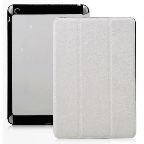 Чехол-книжка Gissar Flora для Apple iPad mini 2/3 (искусственная кожа с подставкой) с рисунком белыйдля Apple iPad mini 1/2/3<br>Чехол-книжка Gissar Flora для Apple iPad mini 2/3 (искусственная кожа с подставкой) с рисунком белый<br>