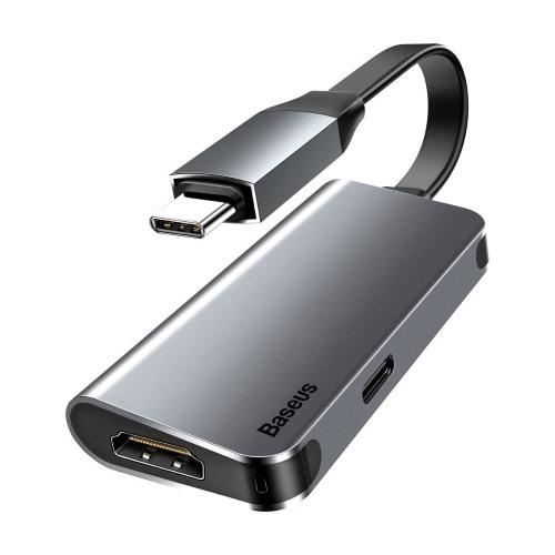 Картинка для Адаптер Baseus Little box Type-C на HDMI/Type-C PD mini high-definition smart Hub converter (Grey)