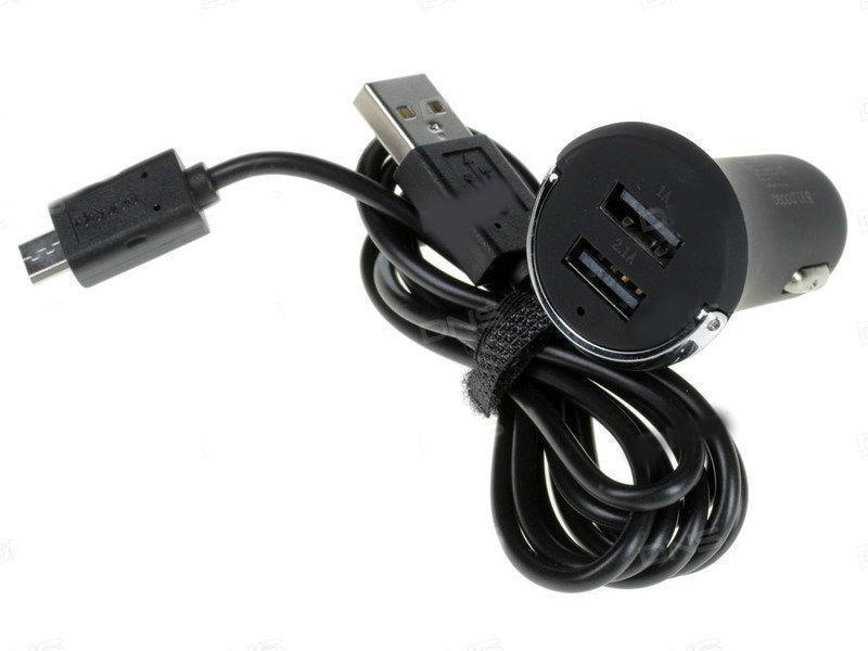 Автомобильное зарядное устройство Deppa (11206) 2100mA (2xUSB), + кабель microUSB 150 см Black