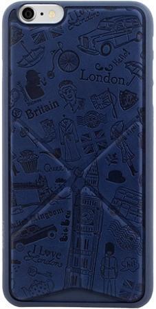 Чехол-накладка Ozaki O!coat Travel London для Apple iPhone 6/6S искусственная кожа синийдля iPhone 6/6S<br>Чехол-накладка Ozaki O!coat Travel London для Apple iPhone 6/6S искусственная кожа синий<br>