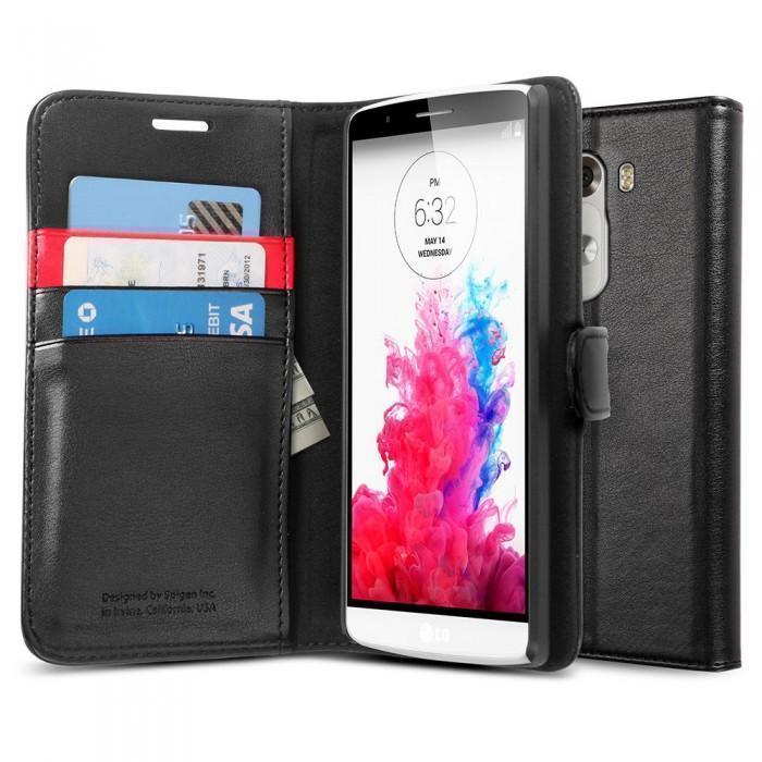 Чехол-книжка Spigen Wallet S (SGP10871) для LG G3 натуральная кожа черныйдля LG<br>Чехол-книжка Spigen Wallet S (SGP10871) для LG G3 натуральная кожа черный<br>