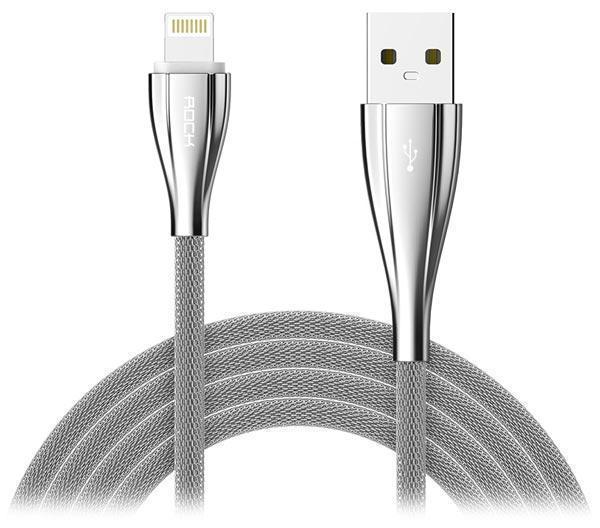 Кабель Rock Metal Data Cable (USB) на (Lightning) 100см металлический Silver(Apple lightning) кабели, переходники, адаптеры<br>Кабель Rock Metal Data Cable (USB) на (Lightning) 100см металлический Silver<br>