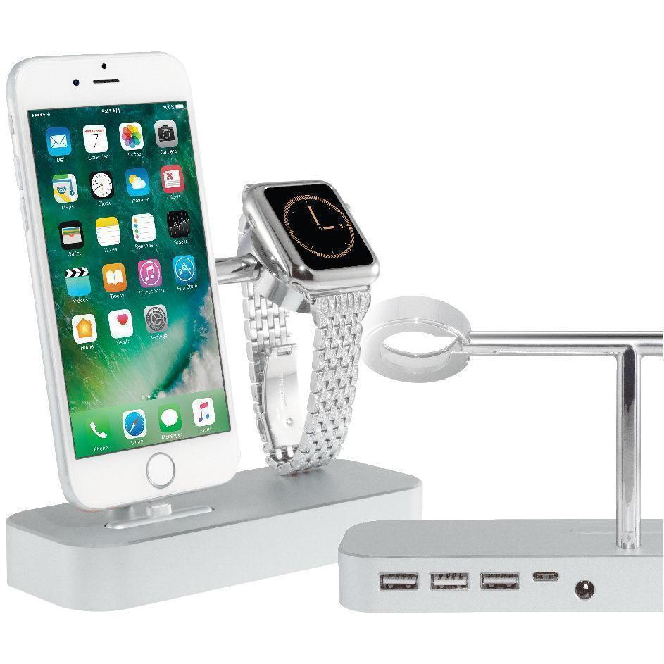 Купить со скидкой Док-станция USB-концентратор COTEetCI Base (B18) MFI 2 в 1 для Apple Watch / iPhone CS7200-TS Silver