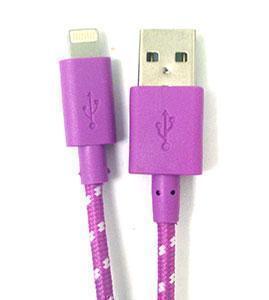 Кабель в веревочной обмотке Lightning to USB для Apple ios7 фиолетовый
