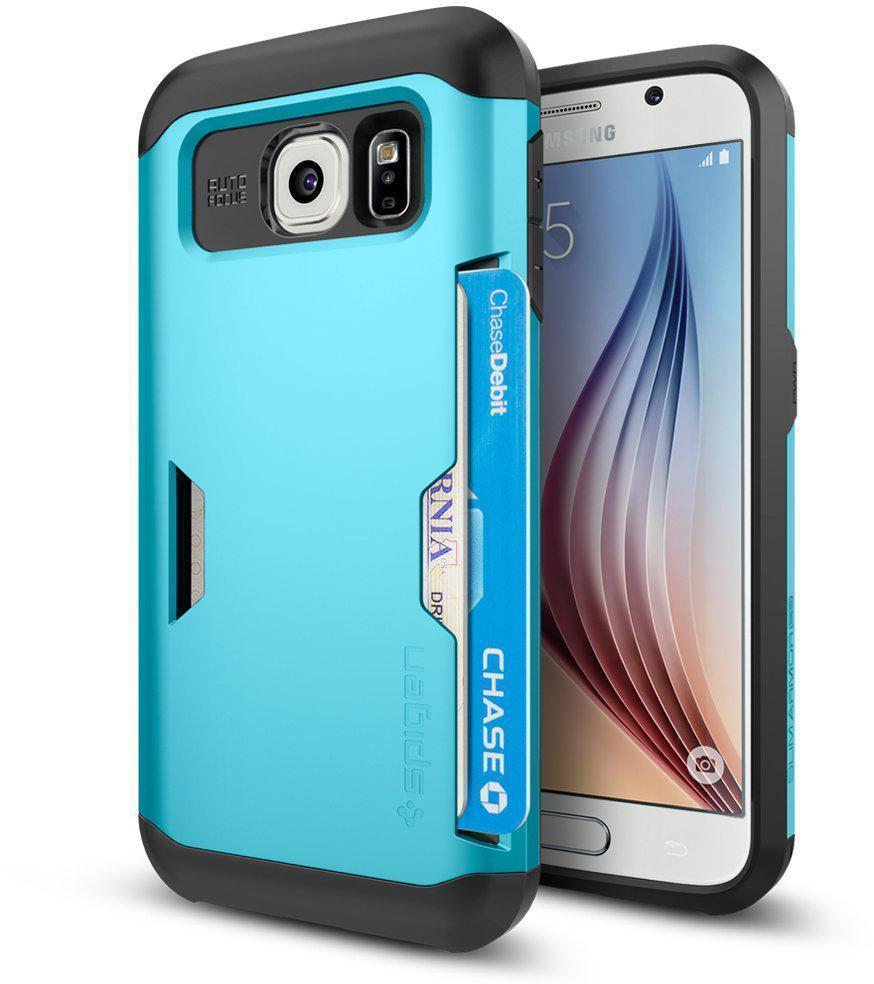 Чехол-накладка Spigen Slim Armor CS SGP11334 для Samsung Galaxy S6 резина, пластик (синий)для Samsung<br>Чехол-накладка Spigen Slim Armor CS SGP11334 для Samsung Galaxy S6 резина, пластик (синий)<br>