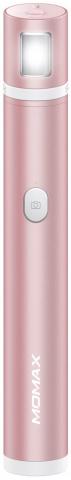 Монопод для смартфона Momax Selfie Light KM12M с Bluetooth кнопкой (Pink)