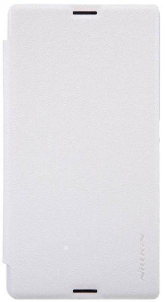 Чехол-книжка Nillkin Sparkle Series для Sony Xperia E3 (D2212/D2203) пластик-полиуретан белыйдля Sony<br>Чехол-книжка Nillkin Sparkle Series для Sony Xperia E3 (D2212/D2203) пластик-полиуретан белый<br>