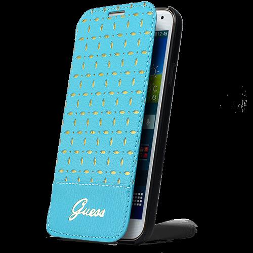 Чехол-книжка Guess Gianina Flip для Samsung Galaxy S5 натуральная кожа (blue) фото