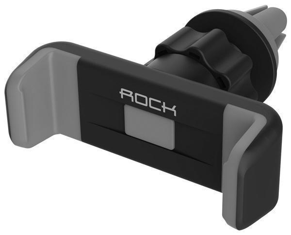 Держатель автомобильный Rock Car Vent Holder в воздуховод для телефона 3.5-6 дюймов черный-серыйДержатель в воздуховод<br>Держатель автомобильный Rock Car Vent Holder в воздуховод для телефона 3.5-6 дюймов черный-серый<br>