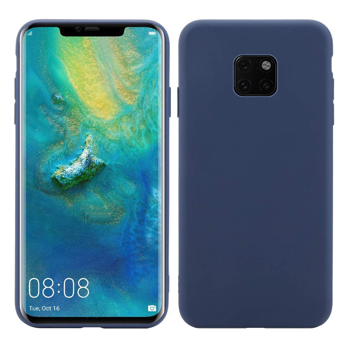Чехол-накладка Creative Case для Huawei Mate 20 силикон/искусственная кожа (синий) фото